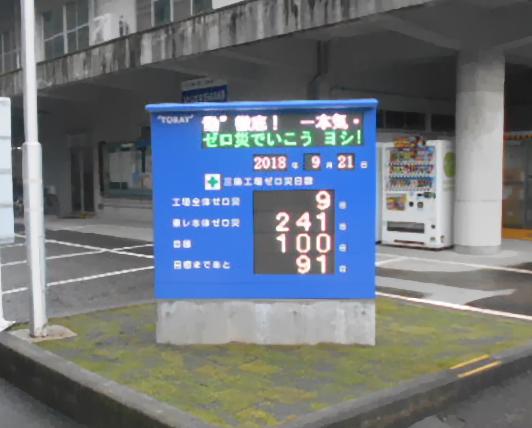 東レ 三島工場様 無災害記録表